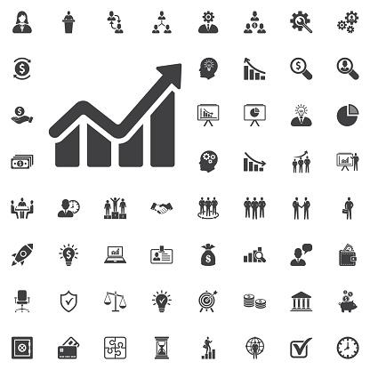 Infographic Chart Icon Growing Graph Simbol — стоковая векторная графика и другие изображения на тему Equitable Building
