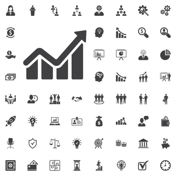 infographic. chart icon. growing graph simbol. - крупный план stock illustrations
