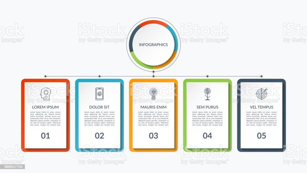 Infografía plan de 5 pestañas, opciones, bares. Puede ser utilizado como un diagrama, gráfico, tabla de datos, presentación, informe anual, diseño web. - ilustración de arte vectorial