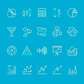Infographic & Chart Types outline vector icons kit
