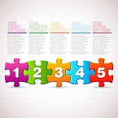 Infographic chart with five multicolored puzzle pieces