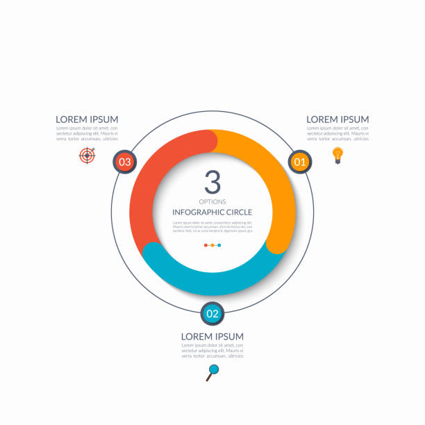 Infographic circle. 3 options, steps, parts. Business concept for diagram, graph, chart. Vector template Infographic circle. 3 options, steps, parts. Business concept for diagram, graph, chart. Vector template aiming stock illustrations