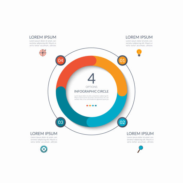 infographic circle. 4 options, steps, parts. business concept for diagram, graph, chart. vector template - rower stock illustrations