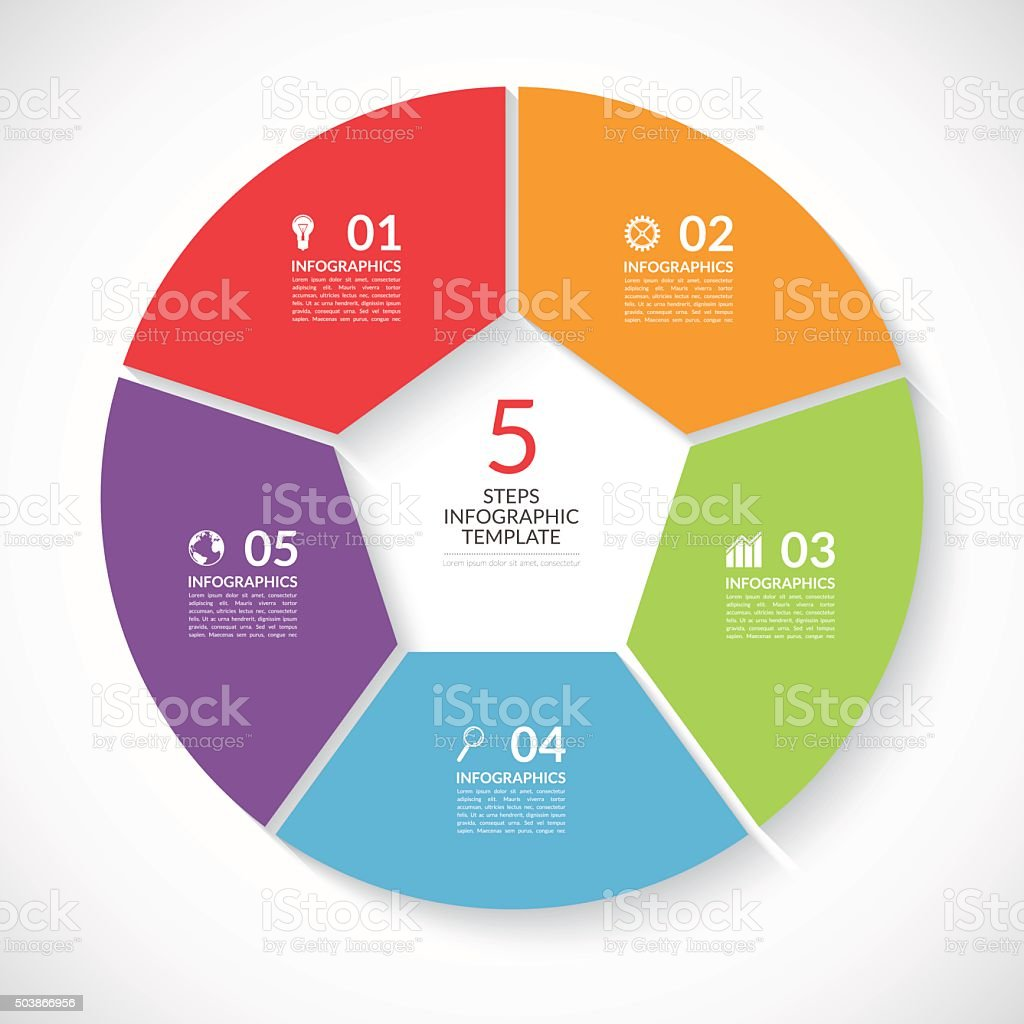 Infographic circle banner. Vector template with 5 steps, parts, options vector art illustration