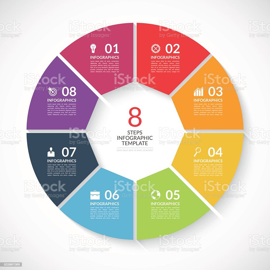 Infographic circle banner. Vector template with 8 steps, parts, options vector art illustration