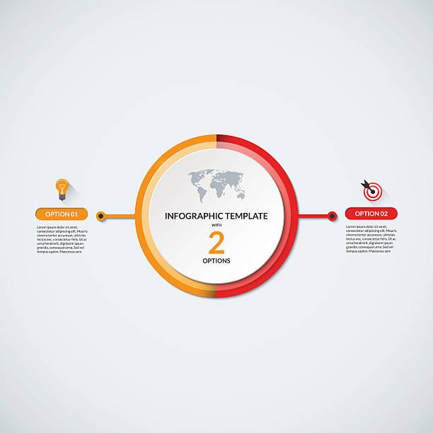 ilustrações, clipart, desenhos animados e ícones de modelo de diagrama de círculo infográfico com 2 opções - dois objetos