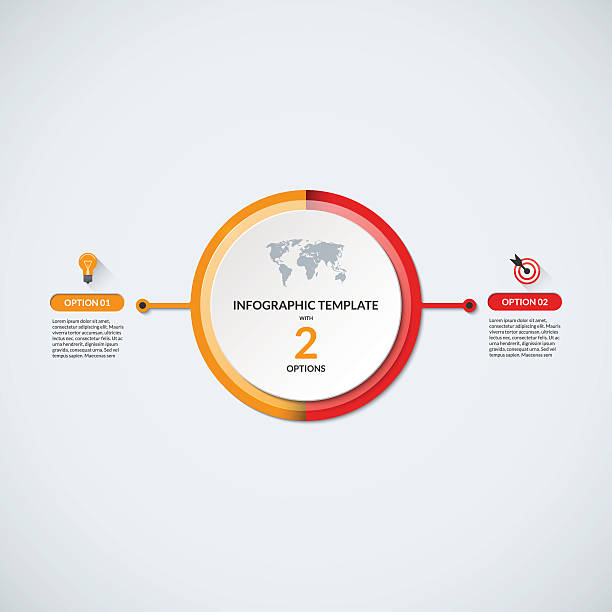 infographic circle diagram template with 2 options - 쌍 stock illustrations
