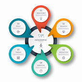Infographic circle diagram template with 6 options. Can be used as a chart, graph, workflow layout, for web, report, business infographics.