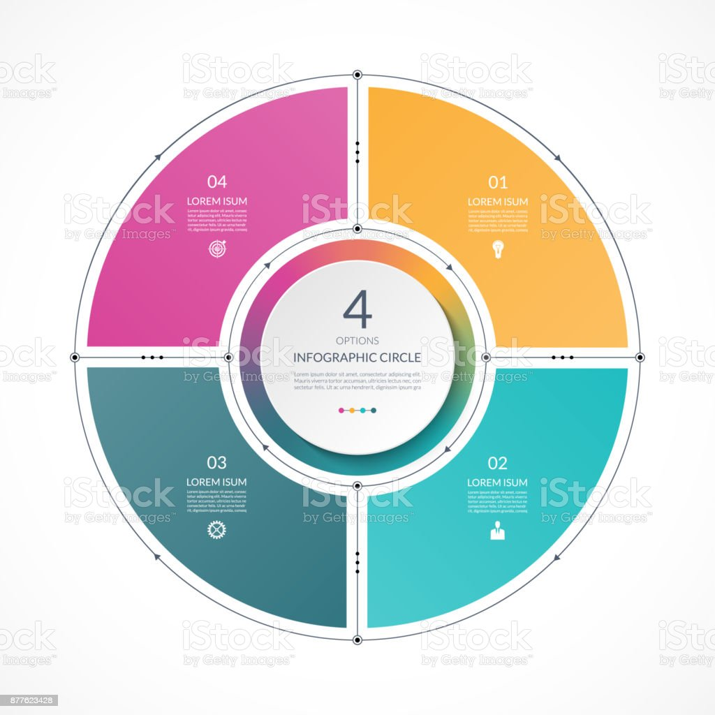 Infographic circle in thin line flat style. Business presentation template with 4 options, parts, steps. Can be used for cycle diagram, graph, round chart. royalty-free infographic circle in thin line flat style business presentation template with 4 options parts steps can be used for cycle diagram graph round chart stock illustration - download image now