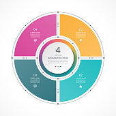 Infographic circle in thin line flat style. Business presentation template with 4 options, parts, steps. Can be used for cycle diagram, graph, round chart.