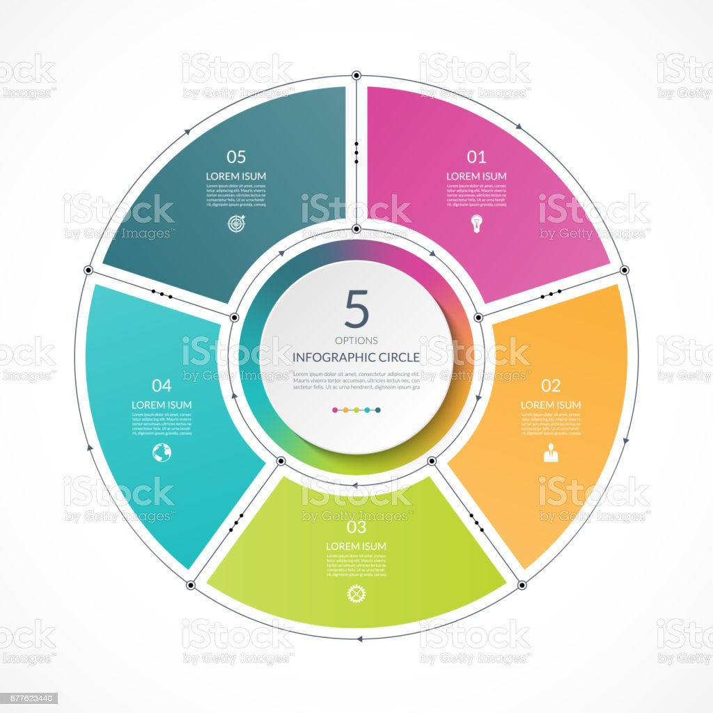 Infographic circle in thin line flat style. Business presentation template with 5 options, parts, steps. Can be used for cycle diagram, graph, round chart. royalty-free infographic circle in thin line flat style business presentation template with 5 options parts steps can be used for cycle diagram graph round chart stock illustration - download image now