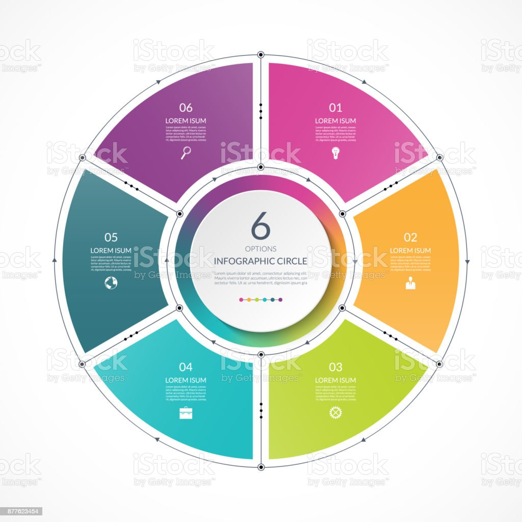 Infographic circle in thin line flat style. Business presentation template with 6 options, parts, steps. Can be used for cycle diagram, graph, round chart. royalty-free infographic circle in thin line flat style business presentation template with 6 options parts steps can be used for cycle diagram graph round chart stock illustration - download image now