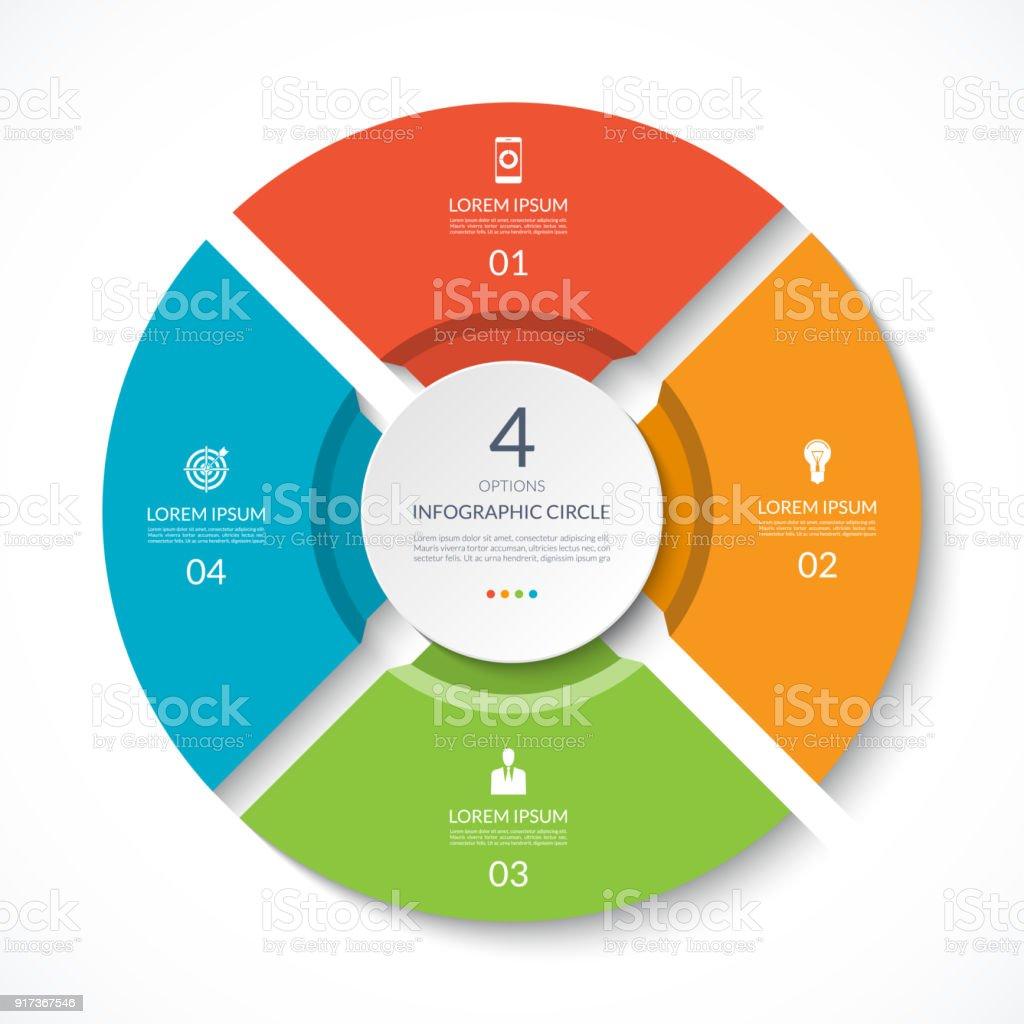 Ilustrao de infogrfico de crculo grfico do processo diagrama do infogrfico de crculo grfico do processo diagrama do vetor com 4 opes pode ccuart Images