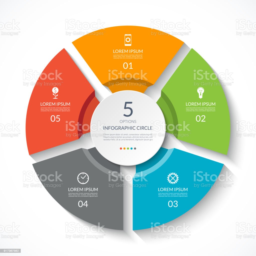 Infographic circle. Process chart. Vector diagram with 5 options. Can be used for graph, presentation, report, step options, web design. royalty-free infographic circle process chart vector diagram with 5 options can be used for graph presentation report step options web design stock illustration - download image now