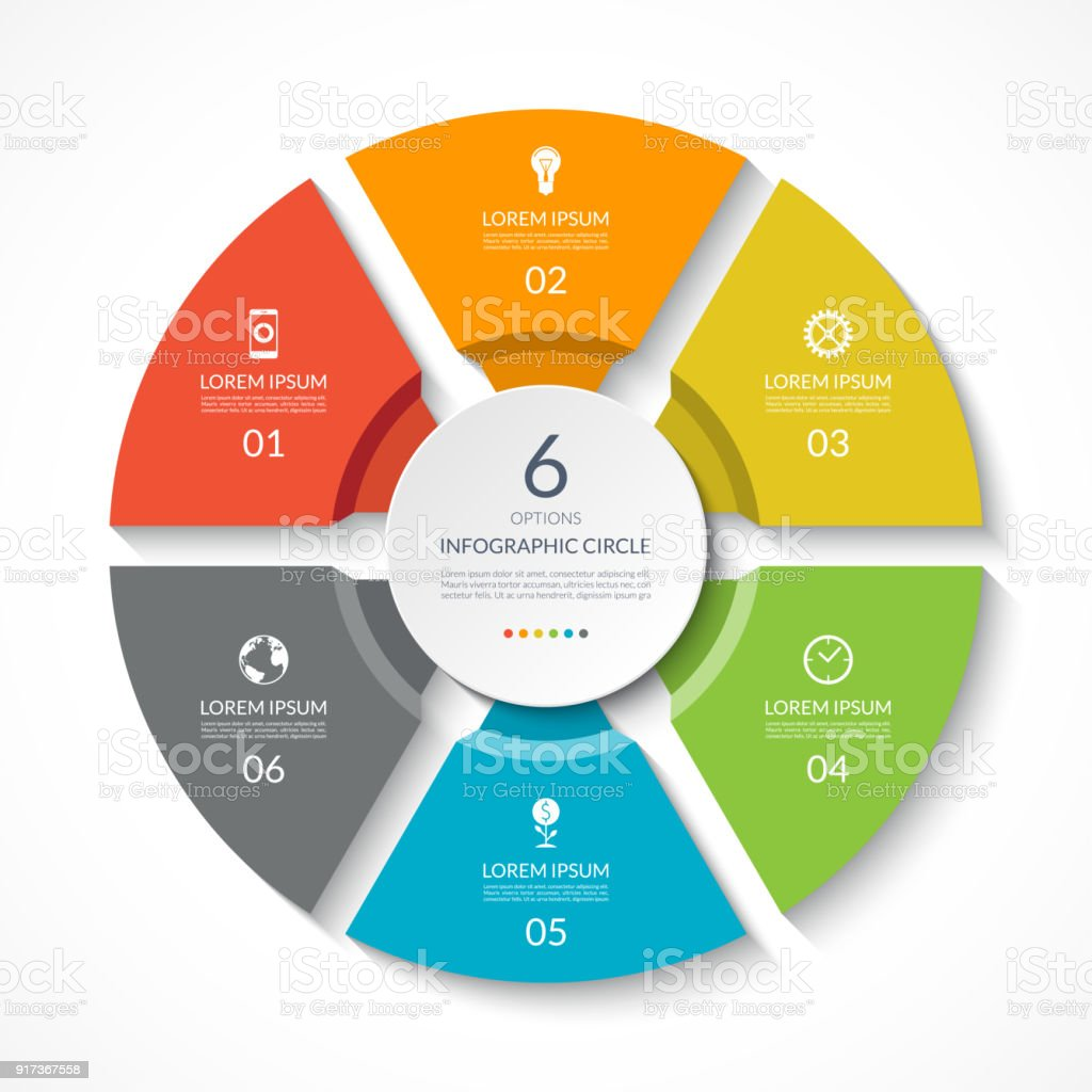Infographic circle. Process chart. Vector diagram with 6 options. Can be used for graph, presentation, report, step options, web design. royalty-free infographic circle process chart vector diagram with 6 options can be used for graph presentation report step options web design stock illustration - download image now