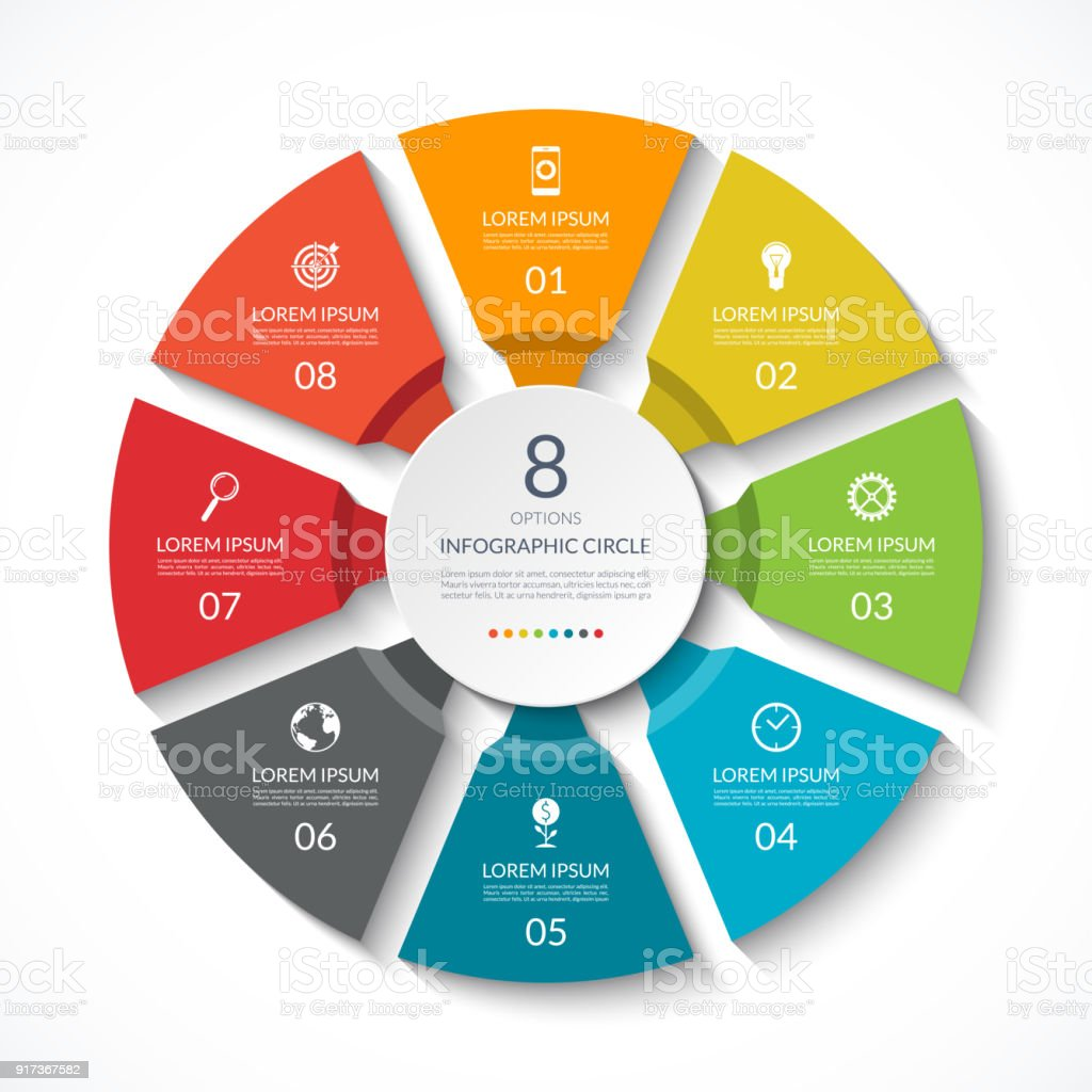 Infographic circle. Process chart. Vector diagram with 8 options. Can be used for graph, presentation, report, step options, web design. - ilustração de arte vetorial