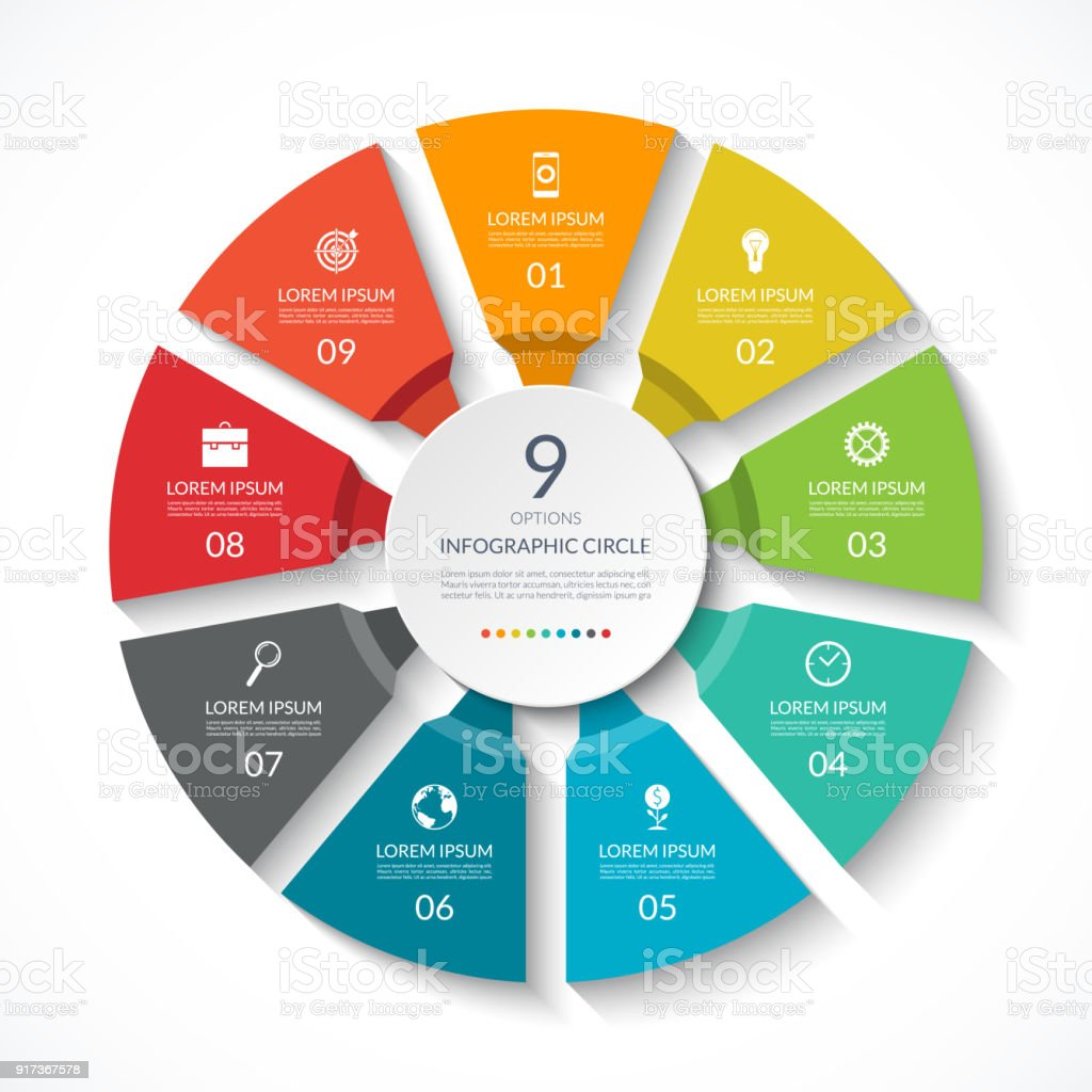 Infographic circle. Process chart. Vector diagram with 9 options. Can be used for graph, presentation, report, step options, web design. – artystyczna grafika wektorowa