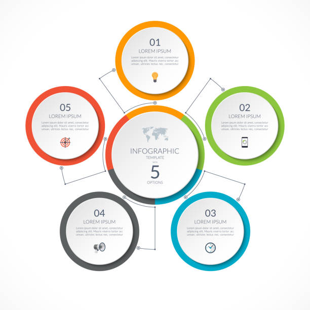 infographic circle with 5 options. can be used for graph, diagram, chart, presentation, report, web design. vector illustration. - rower stock illustrations