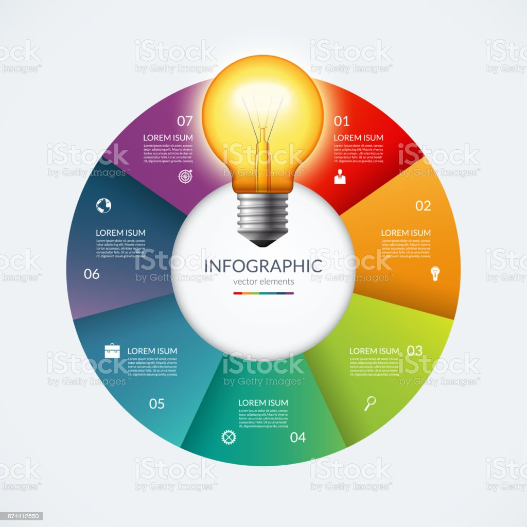 Infographic Circle With Glowing Lightbulb Creative Idea Concept Diagram Of Incandescent Light Bulb 7 Options Steps Parts