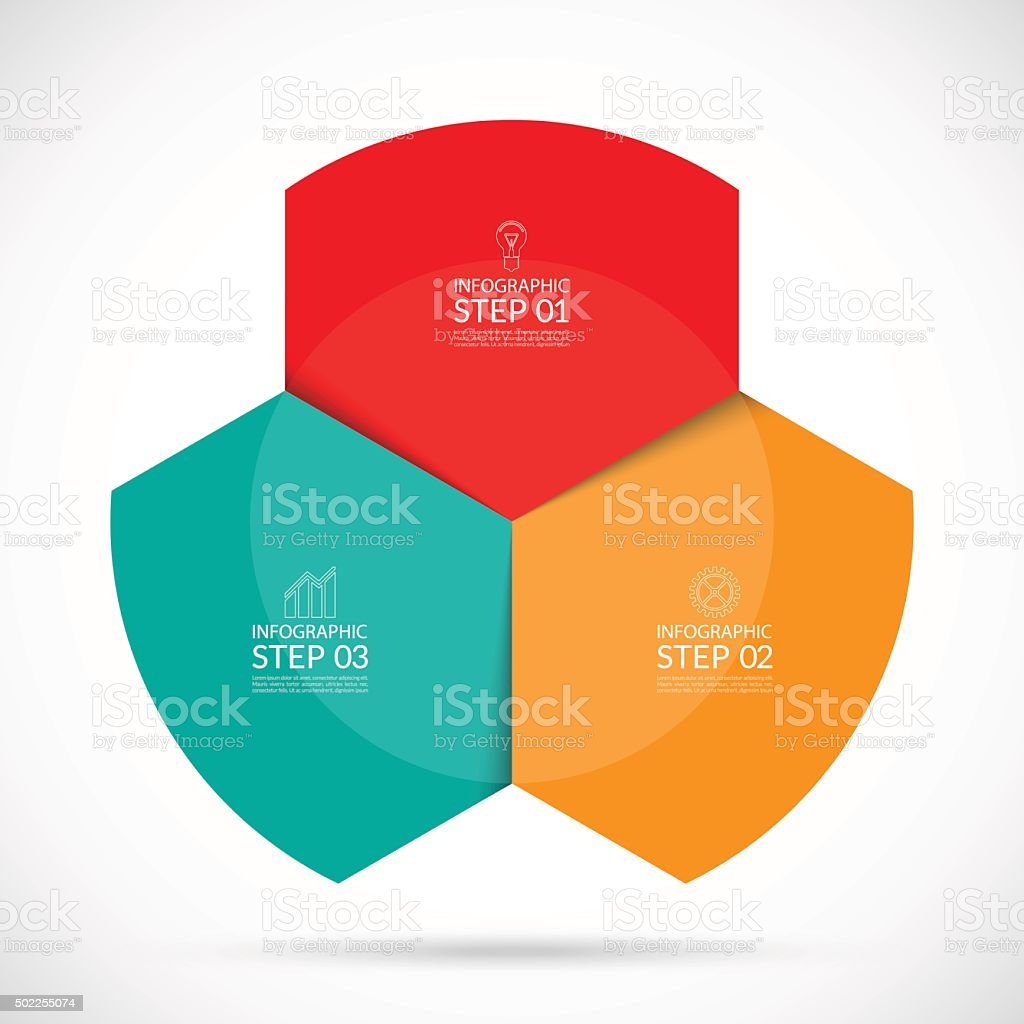 Infographic circular template. 3 steps vector background vector art illustration