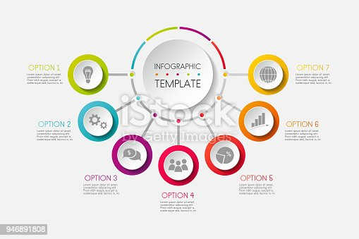 Infographic - colourful template with business icons. Vector.