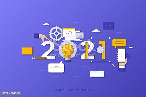 istock Infographic concept, 2021 - year of opportunities. Trends and prospects in web and mobile applications, software development, program coding, programmer tools. Vector illustration in thin line style. 1296654588
