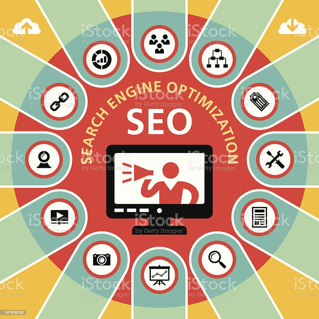 SEO (Search Engine Optimization) Infographic Concept 4 royalty-free stock vector art