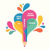 Infographic concept - creative design - pencil illustration for presentation, booklet, web page etc.
