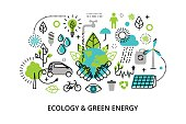 Infographic concept of ecology problem, generation and saving green energy
