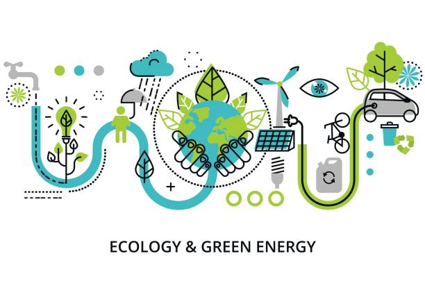 illustrazioni stock, clip art, cartoni animati e icone di tendenza di infographic concept of ecology problem - climate change