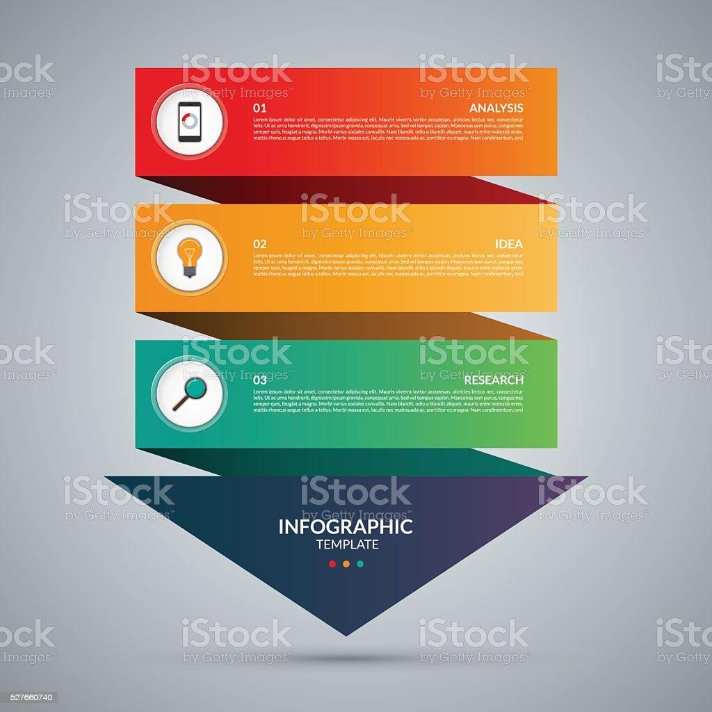 Infografía concepto. Plantilla de Vector de con 3 pasos - ilustración de arte vectorial