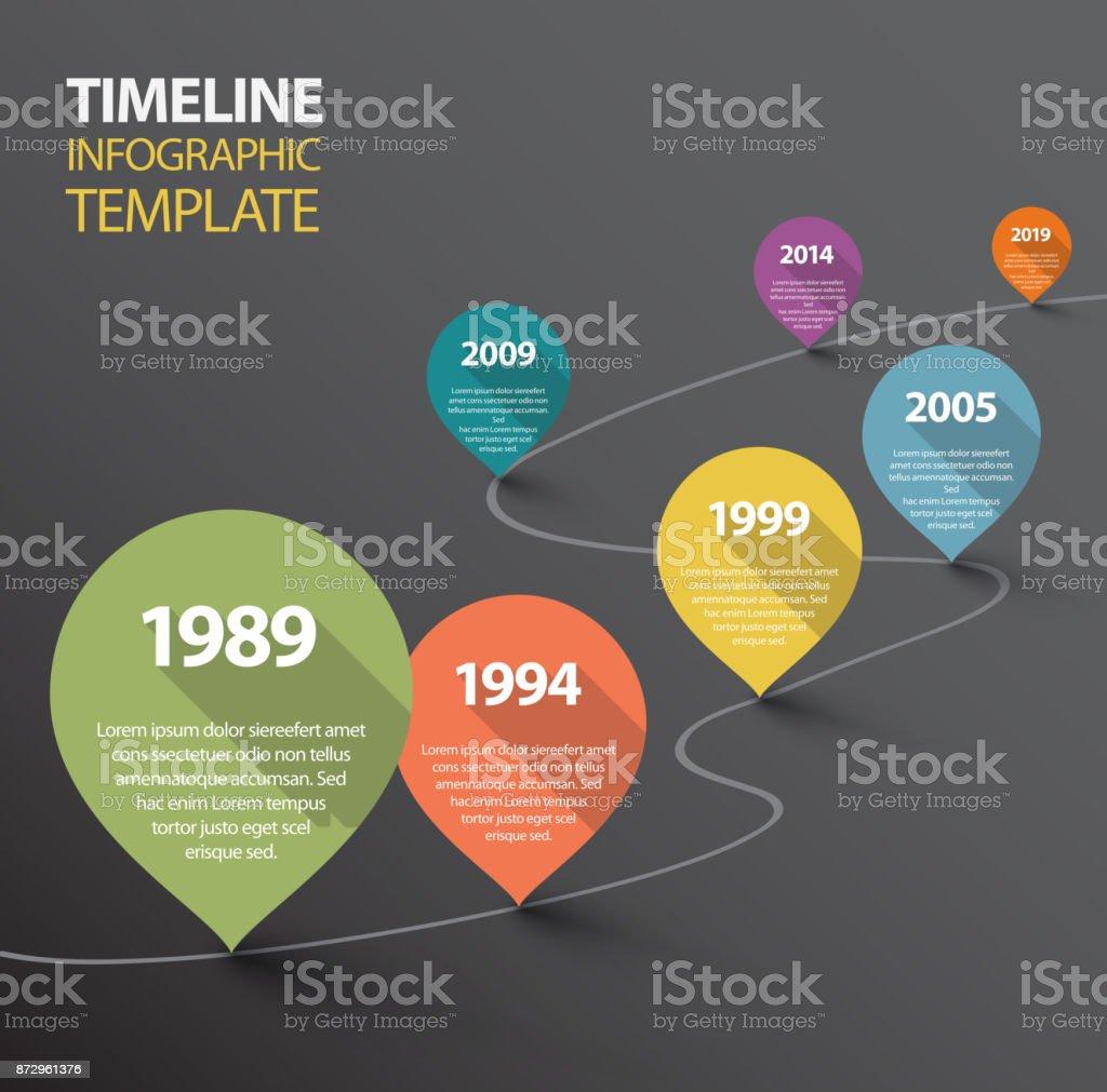 Ilustración de Plantilla De Línea De Tiempo Oscuro De Infografía Con ...
