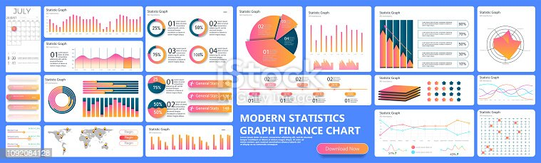 Infographic dashboard. Finance data analytic charts, trade statistic graph and modern business chart column. Analytics infographics ui stats graph futuristic diagram vector concept