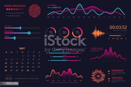 Infographic dashboard template. Data screen with colorful graphs, charts and HUD elements, statistics and analytics. Intelligent technology interface with elements for dashboard and presentation