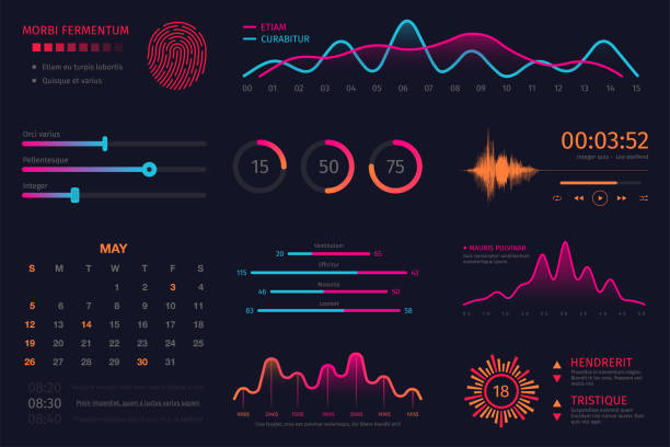 Infographic dashboard template. Data screen with colorful graphs, charts and HUD elements, statistics and analytics. Intelligent technology interface Infographic dashboard template. Data screen with colorful graphs, charts and HUD elements, statistics and analytics. Intelligent technology interface with elements for dashboard and presentation projection screen stock illustrations