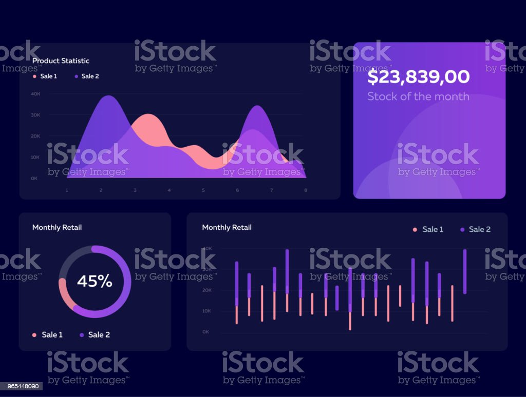 Infographic dashboard template with flat design graphs and charts in dark colors. Information Graphics elements - Grafika wektorowa royalty-free (Analizować)