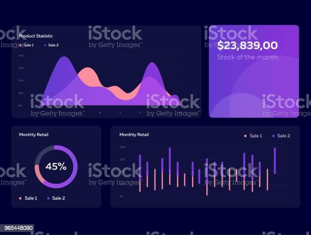 Szablon Pulpitu Nawigacyjnego Infografiki Z Płaskimi Wykresami Projektowymi I Wykresami W Ciemnych Kolorach Elementy Grafiki Informacyjnej - Stockowe grafiki wektorowe i więcej obrazów Graf