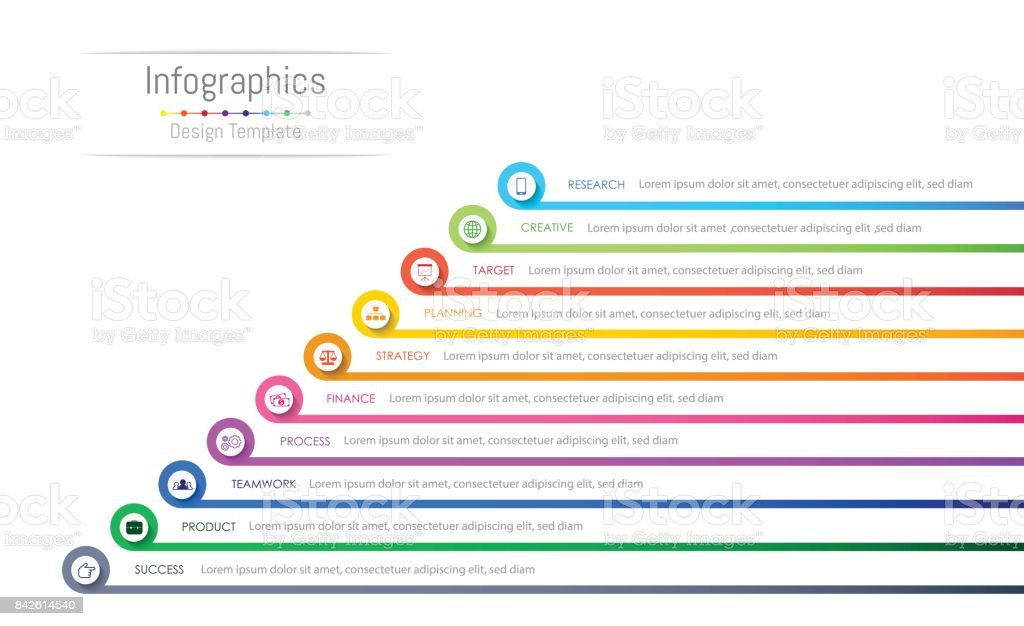 Infographic design elements for your business data with 10 options, parts, steps, timelines or processes. Vector Illustration. vector art illustration