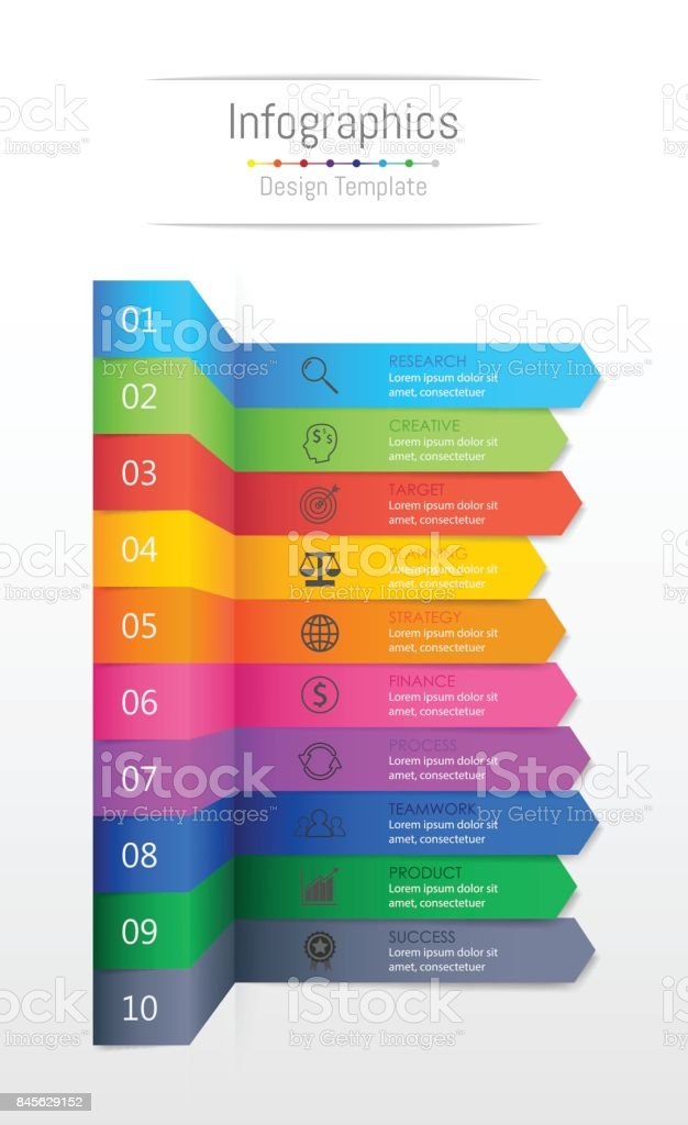 Infographic design elements for your business data with 10 options, parts, steps, timelines or processes, Sticky note paper concept. Vector Illustration. vector art illustration