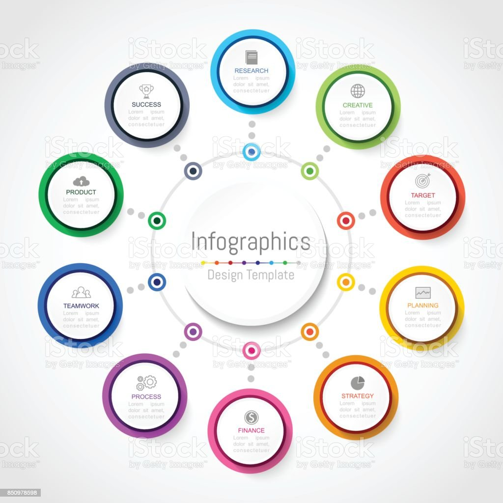 Infographic design elements for your business data with 10 options, parts, steps, timelines or processes, Circle round concept. Vector Illustration. vector art illustration