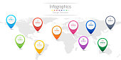 Infographic design elements for your business data with 10 options, parts, steps, timelines or processes, navigation pin concept. Vector Illustration. World map of this image furnished by NASA