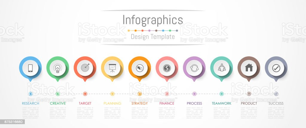 Infographic design elements for your business data with 10 options, parts, steps, timelines or processes. Vector Illustration. - ilustração de arte vetorial