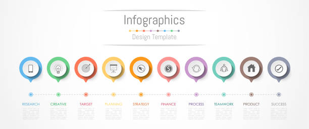 infographic design elements for your business data with 10 options, parts, steps, timelines or processes. vector illustration. - timeline stock illustrations