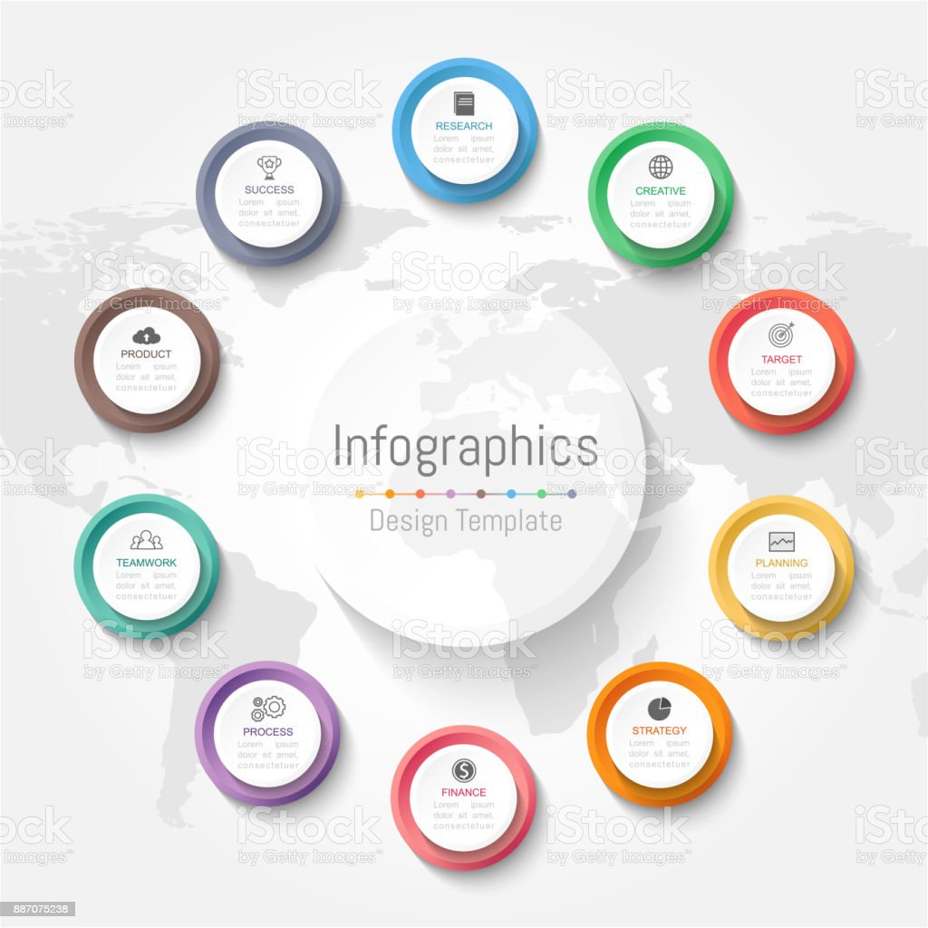 Infographic design elements for your business data with 10 options, parts, steps, timelines or processes. Vector Illustration. World map of this image furnished by NASA - Royalty-free 10-11 Years stock vector