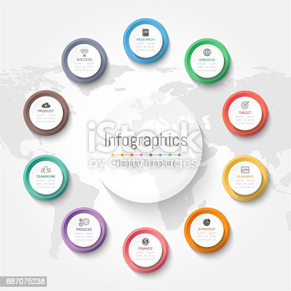 istock Infographic design elements for your business data with 10 options, parts, steps, timelines or processes. Vector Illustration. World map of this image furnished by NASA 887075238