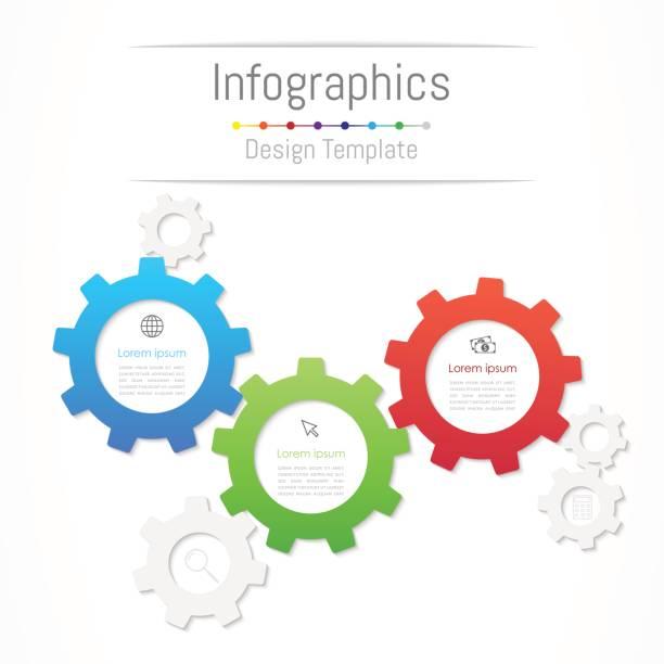 infografik-design-elemente für ihre geschäftsdaten mit 3 optionen, teile, schritte, timelines oder prozesse. zahnrad-konzept, vektor-illustration. - drei stock-grafiken, -clipart, -cartoons und -symbole