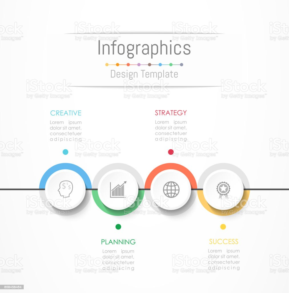 Infographic design elements for your business data with 4 options, parts, steps, timelines or processes. Vector Illustration. vector art illustration