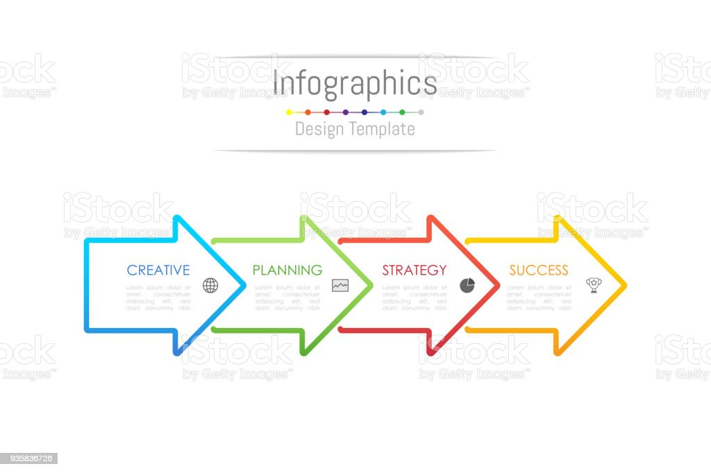 Infographic design elements for your business data with 4 options, parts, steps, timelines or processes. Arrow sign concept, Vector Illustration. vector art illustration