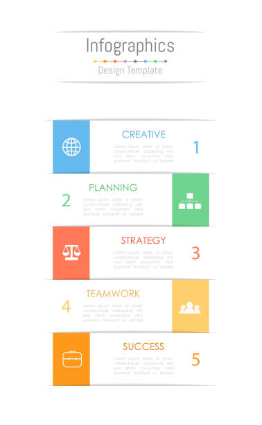 infographic design elements for your business data with 5 options, parts, steps, timelines or processes. vector illustration. - вертикальный stock illustrations