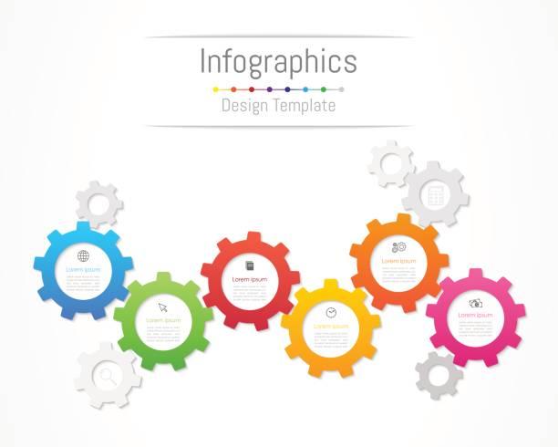 stockillustraties, clipart, cartoons en iconen met infographic designelementen voor uw bedrijfsgegevens met 6 opties, onderdelen, stappen, tijdlijnen of processen. gear wheel concept, vectorillustratie. - 6 7 jaar